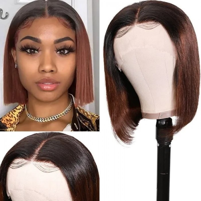 Incolorwig T1B4 Ombre Color Short Bob Wigs 150% Density Virgin Straight Human Hair 13*4 Lace Front Wigs