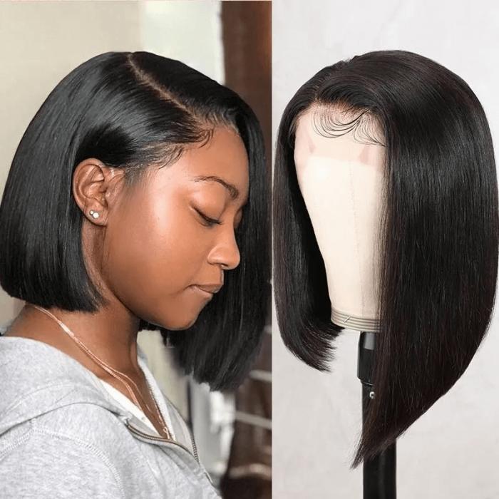 Incolorwig Short Blunt Cut Bob Wig Side Part Asymmetric Bob Wigs 13x4 Pre Plucked Lace Front Wigs