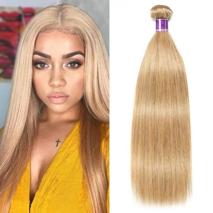 Incolorwig Guaranteed 100% Human Hair Weave #27 Honey Blonde Straight Hair Bundles 1 Bundle Deals