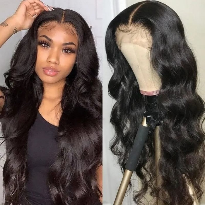 Incolorwig Body Wave 13*5*0.5 Lace Frontal Wig T Part Lace Wig Natural Black Color