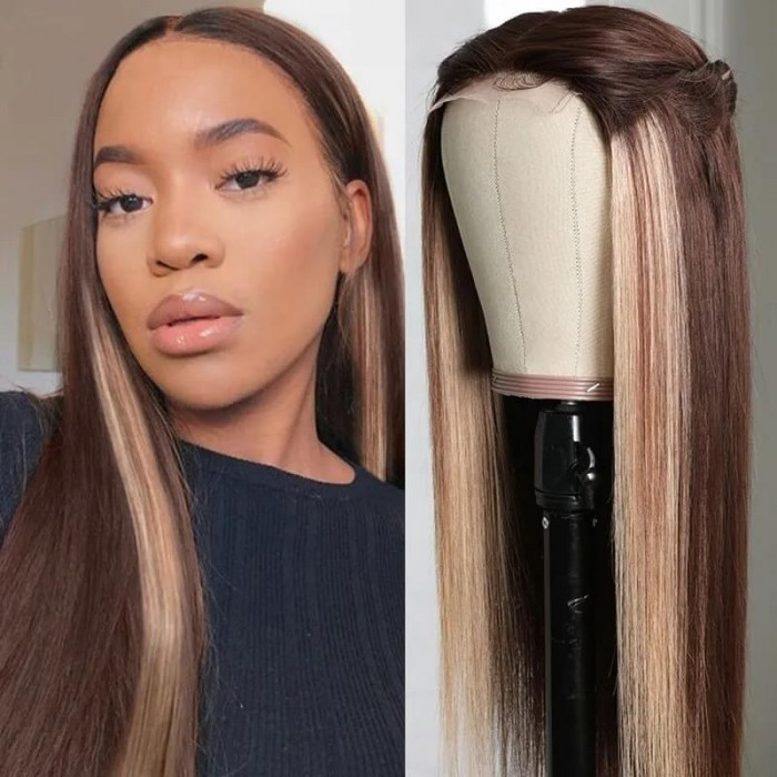 Incolorwig High Quality Honey Blond Wig Human Hair Middle Lace Part Wig #D427 Color