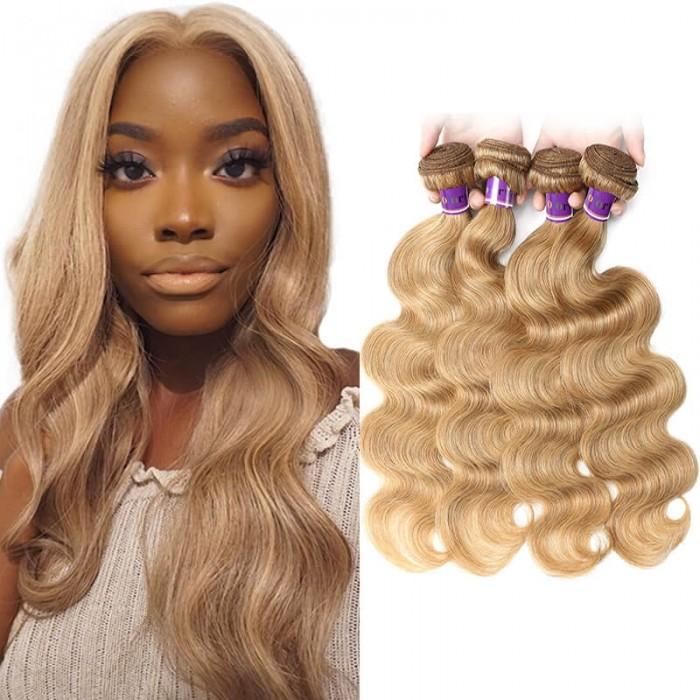 Incolorwig Brazilian Human Hair Weave #27 Honey Blonde Body Wave 4 Bundles Deal