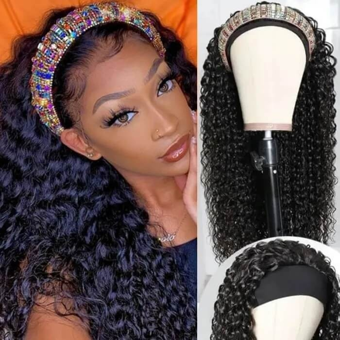 Incolorwig Superior Human Hair Wig 150% Density Jerry Curly Hair Headband Wig
