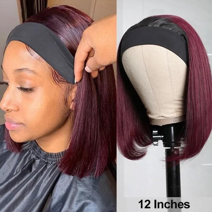 Incolorwig Straight Human Hair Bob Wig 1B/99J Red Headband Wigs No Glue Wear And Go Wig