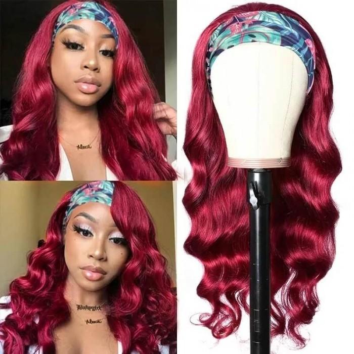 Incolorwig Burgundy Red Headband Wigs Glueless Human Hair Wigs Adjustable Headband Body Wave Wigs