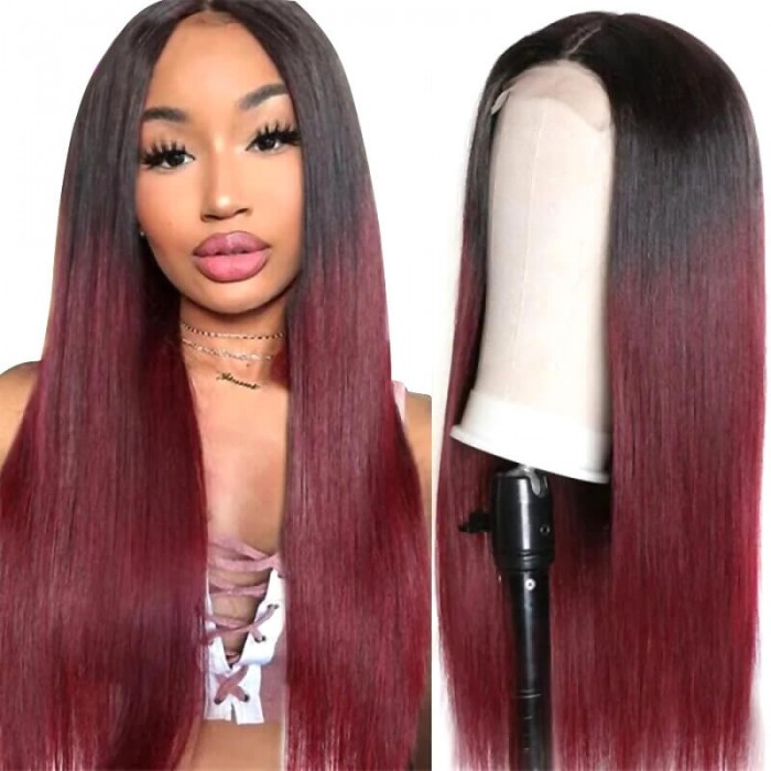 Incolorwig Straight Human Hair Wig Red Color 4x4 Lace Closure Straight Hair Wigs 1B99J Wig 150% Density