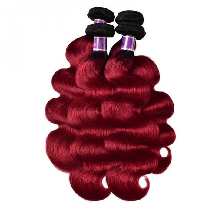Incolorwig Peruvian Human Hair New Arrival #TB Burgundy Body Wave Human Hair Weave 4 Bundles Deals