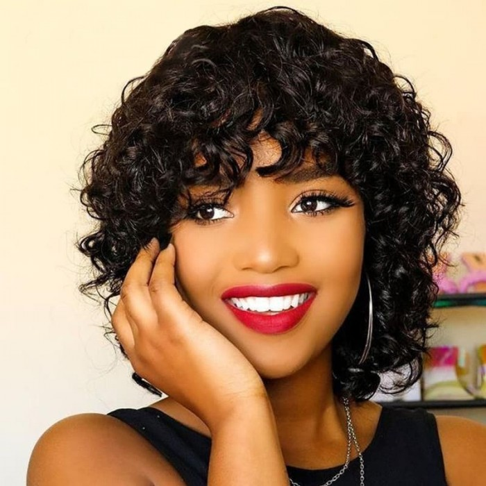 Incolorwig Glueless Short Pix Cut Wigs Bouncy Curl Natural Black With Bangs Glueless Wig