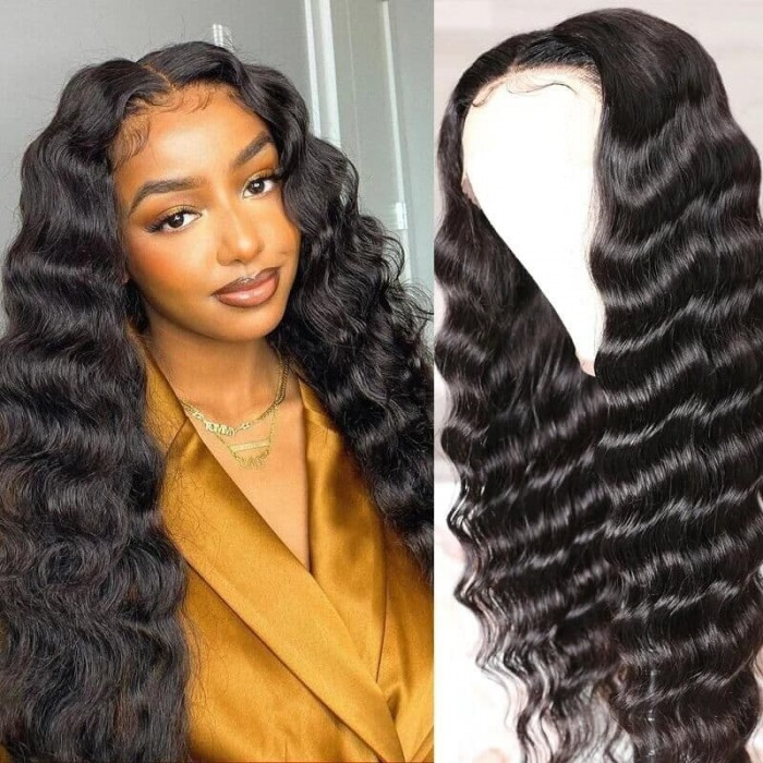 Incolorwig Long Loose Deep Wave T Part Wig 150% Density Natural Black Wigs With Baby Hair