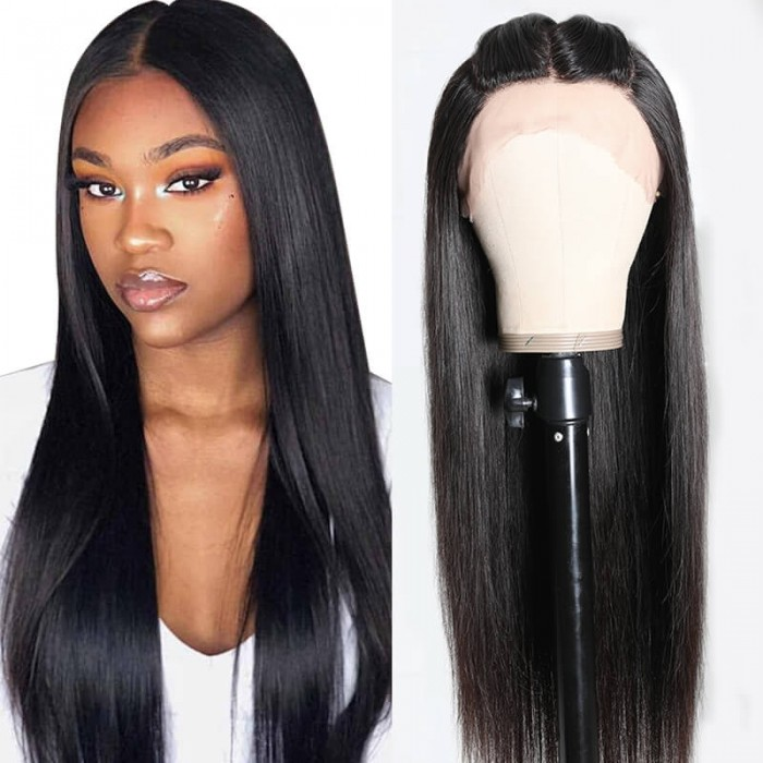 Incolorwig High Quality Natural Black 4.15*0.5*3 Straight Hairline Lace Wigs Updo Free Three Part Lace Part Wigs