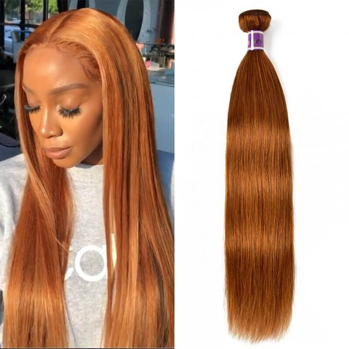 Incolorwig 1 Bundle Charming Human Hair Weave Novel Pre- colored #30 Straight Human Hair Weave