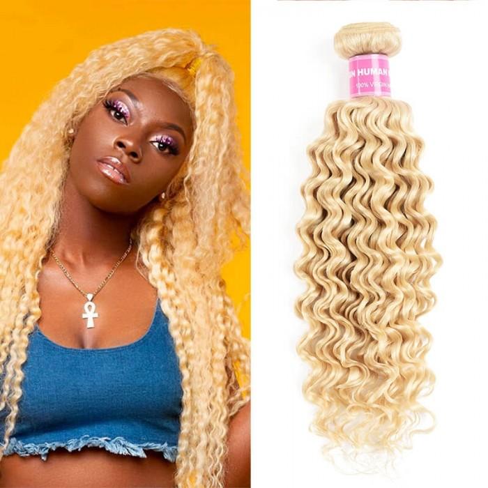 Incolorwig Brazilian Human Hair Weave #613 Blonde Deep Wave Hair 1 Bundle