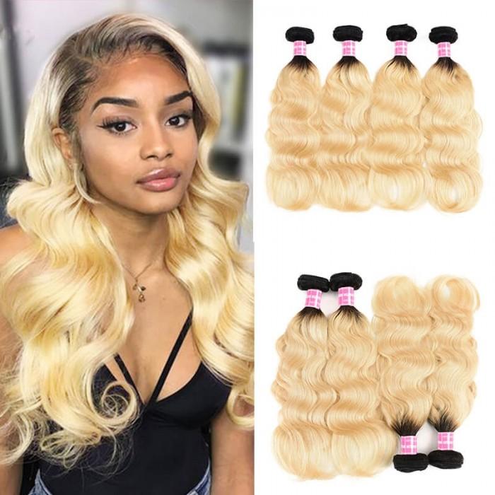Incolorwig Brazilian New Arrival #T1B613 Ombre Blonde Body Wave 4 Bundles Deals Human Hair Weaving