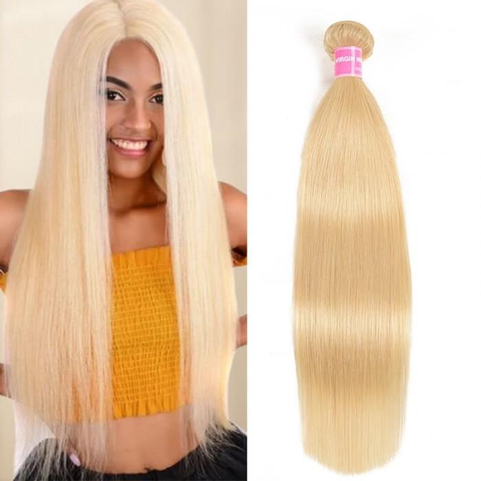 Incolorwig Popular Human Hair Weave #613 Blonde Resilient Straight Hair Bundles 1 Bundle Deals