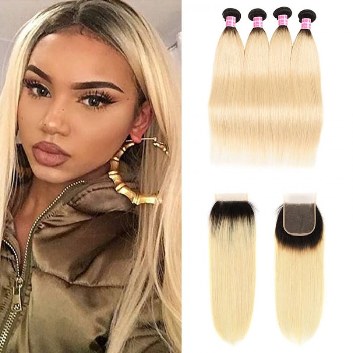 Incolorwig Staight Hair #T1B613 Ombre Color Brazilian 4 Bundles Hair With 4*4 Free Part Lace Closure