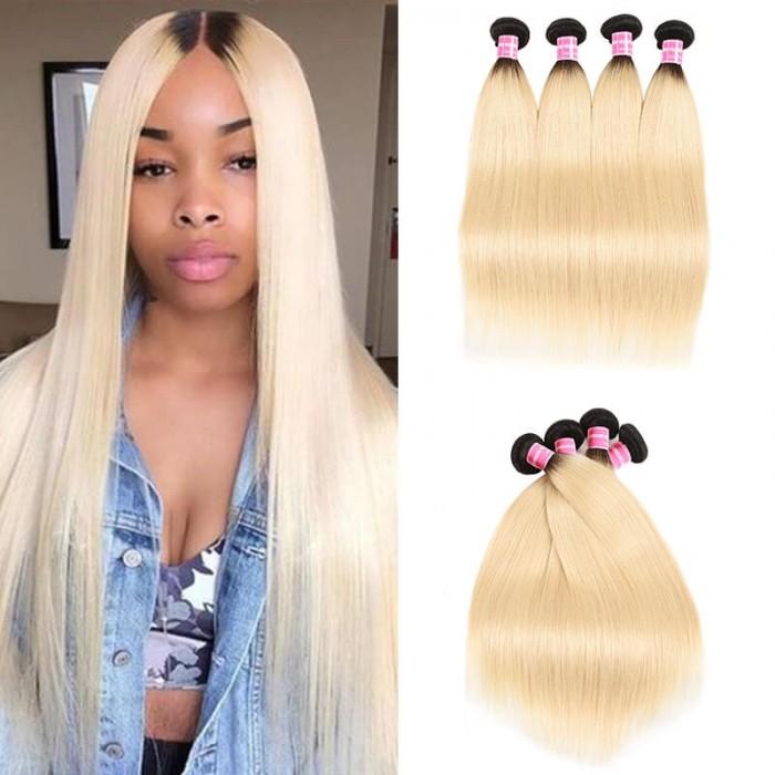 Incolorwig Peruvian Human Hair #T1B613 Ombre Blonde Staight Human Hair Weave 4 Bundles Deals