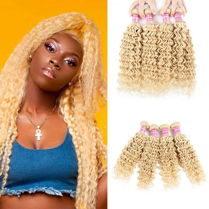 Incolorwig Peruvian Hot #613 Blonde Deep Wave Human Hair 4 Bundles Deals