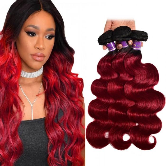 Incolorwig High Quality #TB/Burgundy Body Wave Human Hair Weaves 3 Bundles Virgin Brazilian Human Hair