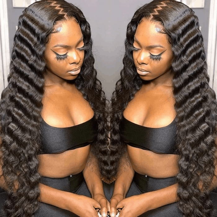 Incolorwig Natural Black Deep Wave 13*4 Lace Front Human Hair Wig Pre Plucked With Baby Hair