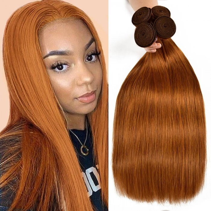 Incolorwig Virgin #30 Dark Brown Straight Brazilian 4 Bundles Human Hair Weave
