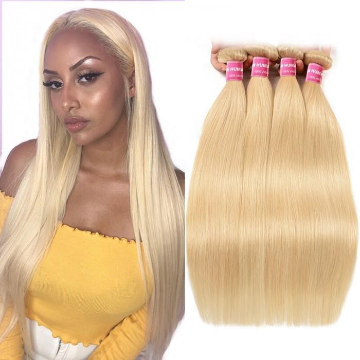Incolorwig Salable Color #613 Blonde Straight Peruvian Hair 4 Bundles Deals Human Hair Weave