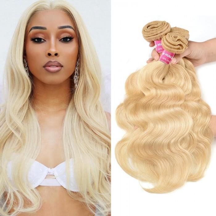 Incolorwig Soft Peruvian Virgin Human Hair # 613 Blonde Body Wave Hair Weaves 3 Bundles