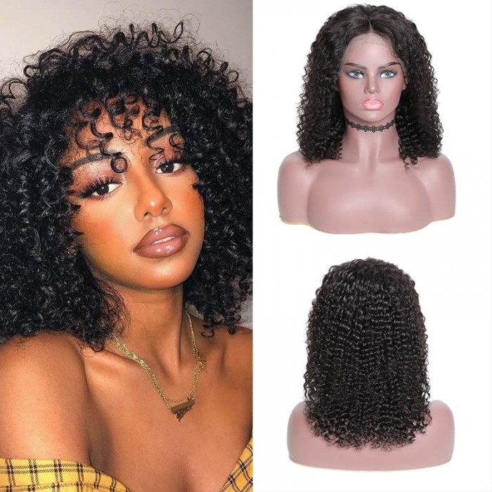 Incolorwig Best Quality Jerry Curly 13*4 Lace Frontal Wigs Natural Color Cut Bob Wigs Online Sale