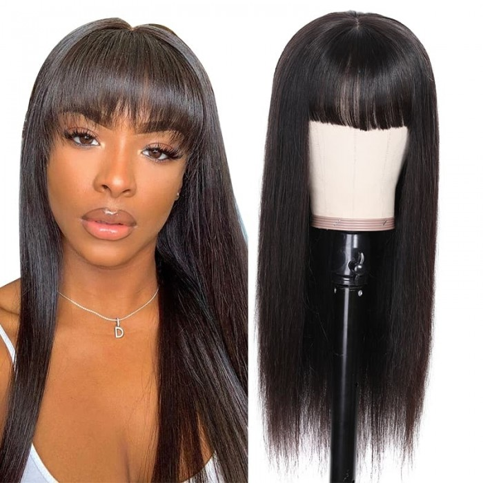 Incolorwig 13x4 Transparent Lace Wig With Bangs Straight Human Hair Wigs 150% Density