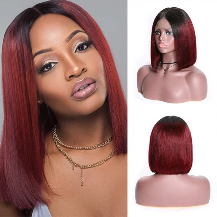 Incolorwig T1B99J Bob Straight Human Hair Wig 13x4 Blunt Cut Bob Wigs With Baby Hair 150% Density