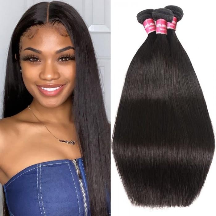 Incolorwig 3 Bundles Deals Brazilian Straight Hair 100% Unprocessed Virgin Hair Weave 8-30 Inch
