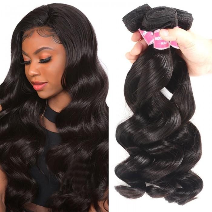 Incolorwig Brazilian Loose Wave Bundles 3 Pcs Loose Natural Black Human Hair Bundles