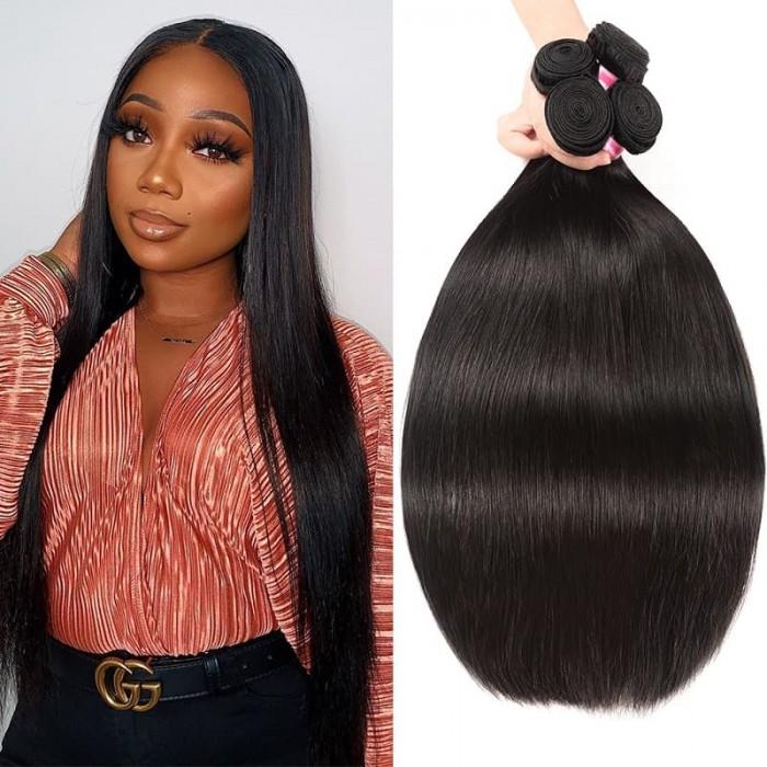 Incolorwig 100% Virgin Human Hair Weave Soft Brazilian Straight Hair 4 Bundles Affordable Price
