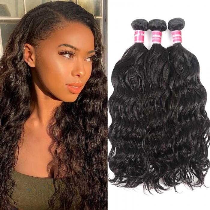 Incolorwig Brazilian Virgin Hair Natural Wave 3 Bundles Human Hair Extensions Natural Color