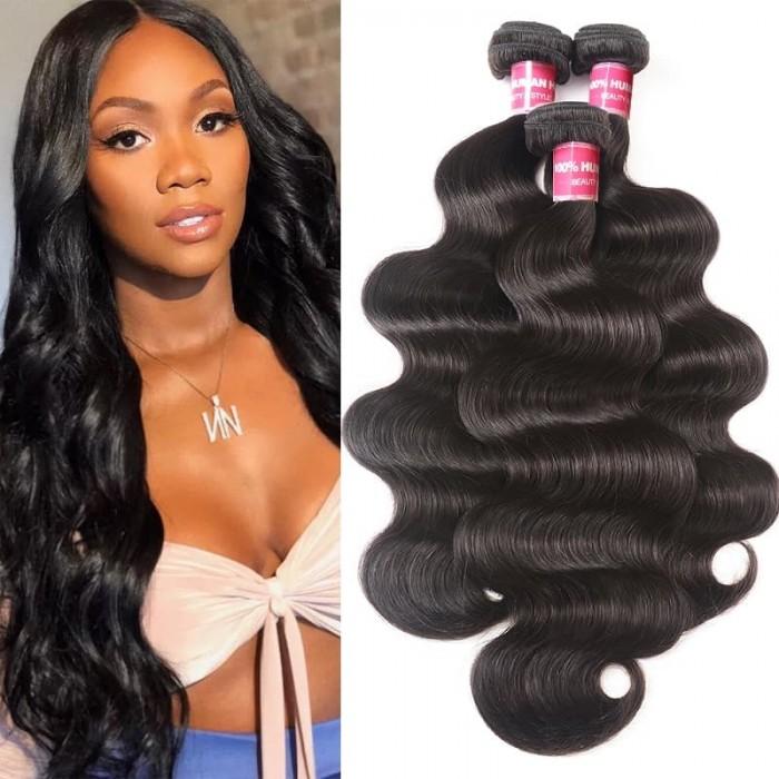 Incolorwig Brazilian Body Wave Hair 3 Bundles Natural Color Brazilian Virgin Hair Extensions