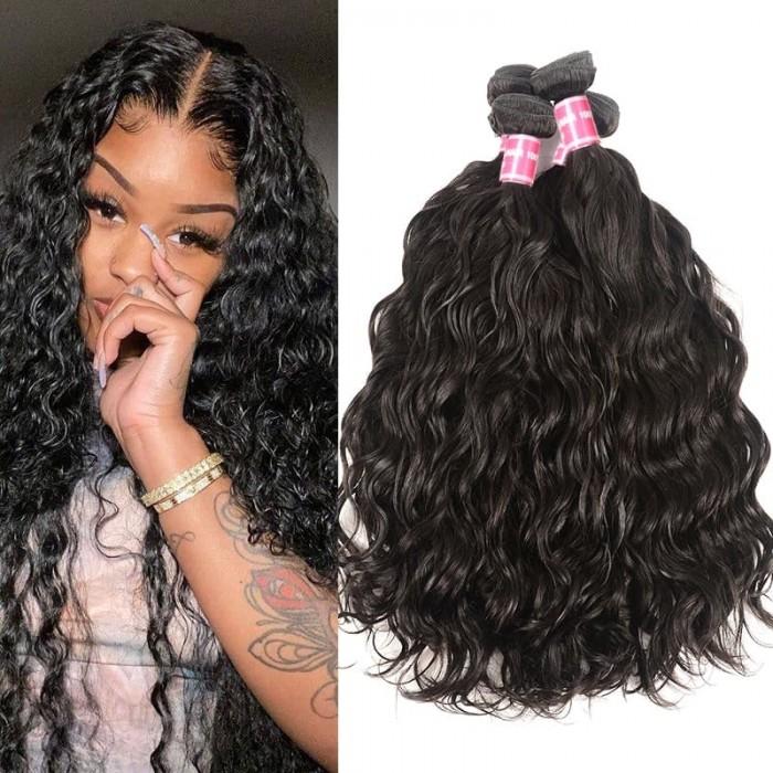 Incolorwig Hot Sale Human Hair Natural Wave 4 Bundles Virgin Remy Hair Natural Color