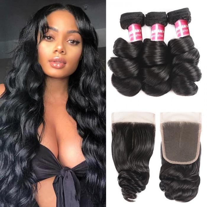 Incolorwig Loose Wave 3 Bundles With 4x4 Lace Closure Human Hair Natural Color