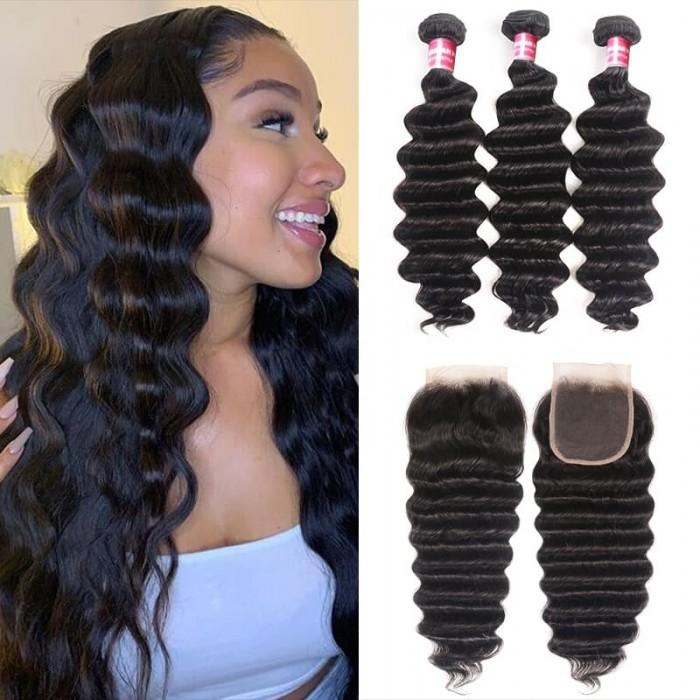 Incolorwig Loose Deep Wave Hair 3 Bundles With 4*4 Closure 100% Virgin Human Hair
