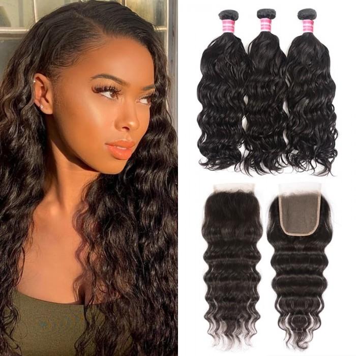 Incolorwig Natural Wave Virgin Hair Bundles 3 Bundles With Closure 100% Unprocessed Human Hair