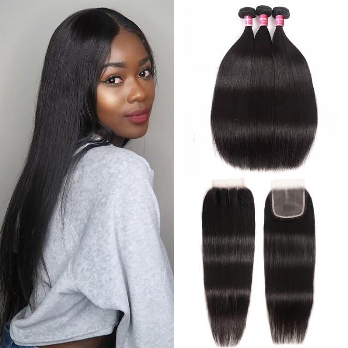 Incolorwig Brazilian Straight Hair 3 Bundles With Lace Closure 4*4 Free Part Virgin Human Hair