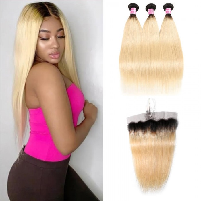 Incolorwig Indian Human Hair T1B613 Ombre Straight Indian 3 Bundles Deals With 13*4 Free Part Lace Frontal