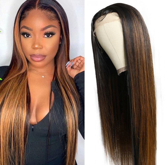 Incolorwig Ombre Color #FB30 Highlight Blonde Straight Human Hair Wig T Part Wigs For Sale