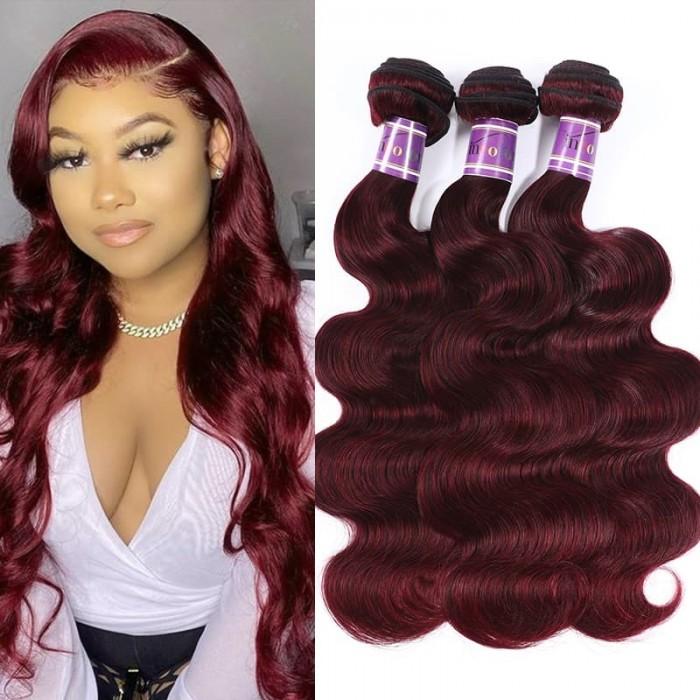 Incolorwig 3 Bundles Hair Weave #99J Body Wave Peruvian Human Hair