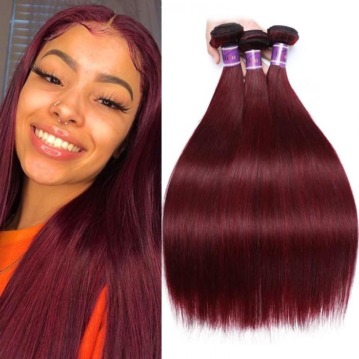 Incolorwig Brazilian 100% Human Hair 3 Bundles #99J Straight Human Hair Weaves