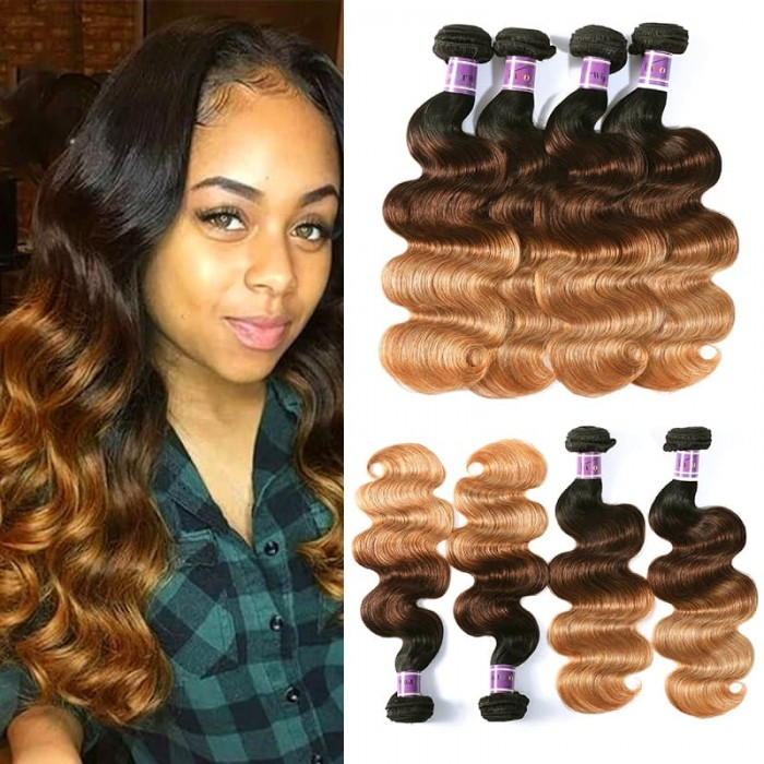 Incolorwig 100% Brazilian Human Hair 4 Bundles Deals #T1B427 Ombre Color Body Wave Human Hair Weave