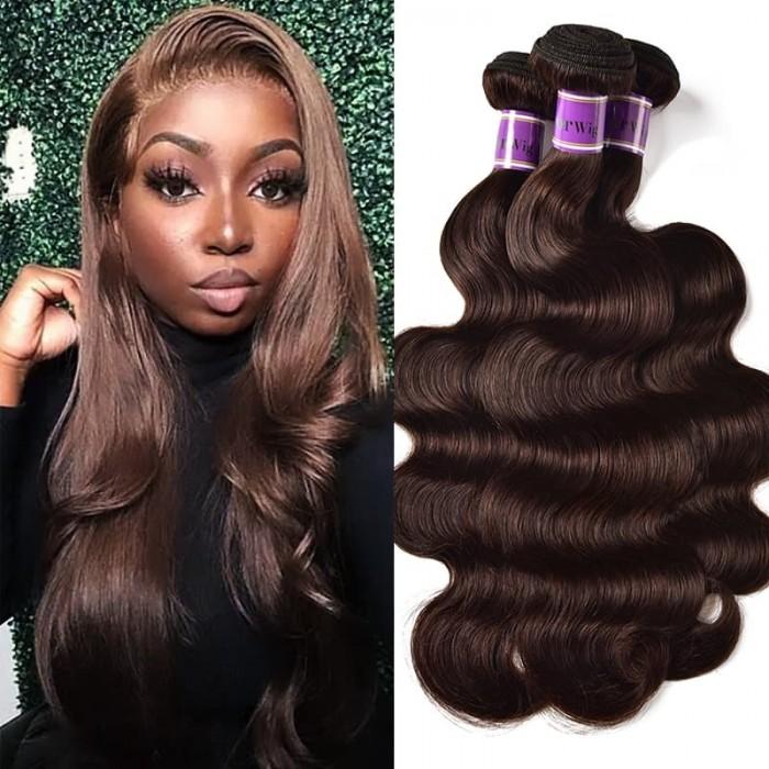 Incolorwig #2 Dark Brown Attractive 3 Bundles Body Wave Brazilian Human Hair Weave