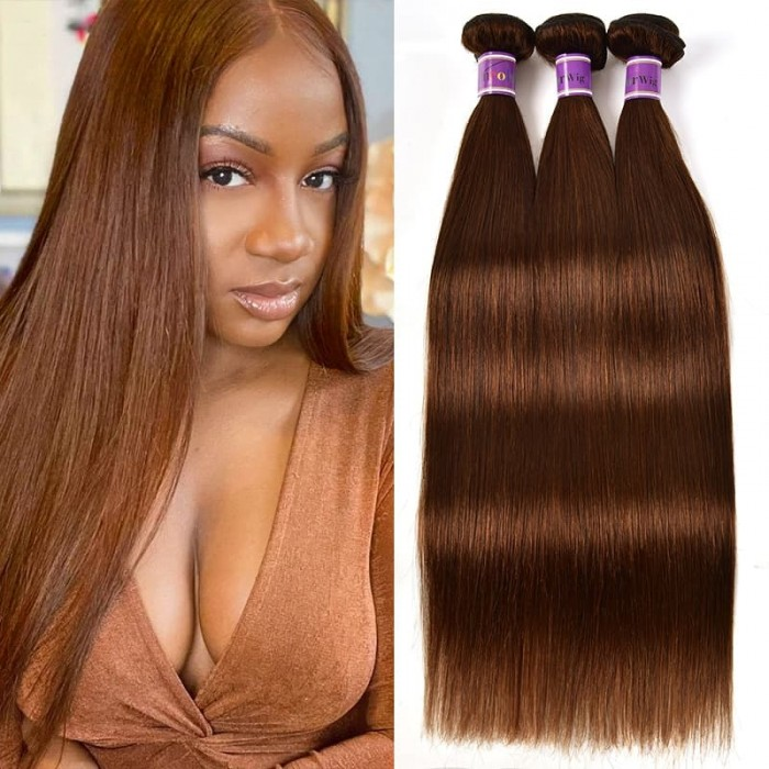 Incolorwig #4 Medium Brown Straight Virgin Brazilian Human Hair Weave 3 Bundles