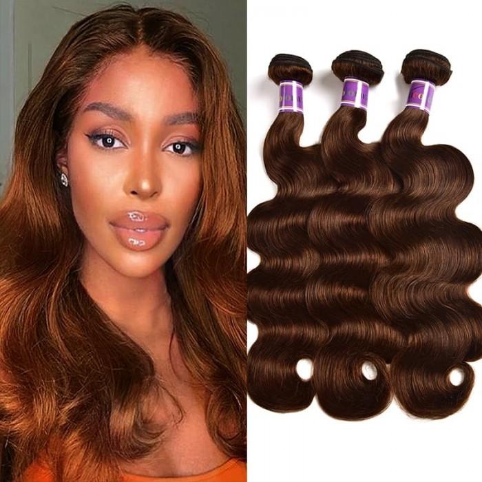 Incolorwig 3 Bundles Peruvian Human Hair Weave 100% Human hair  #4 Medium Brown Body Wave Hair