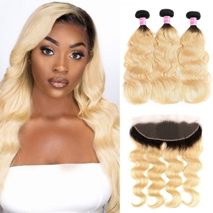 Incolorwig Indian Human Virgin Hair 3 Bundles With 13*4 Free Part Lace Frontal #T1B613 Body Wave Hair Combination
