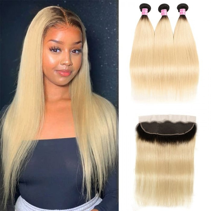 Incolorwig New #T1B613 Ombre Blonde Straight Brazilian 3 Bundles Hair With 13*4 Free Part Lace Frontal
