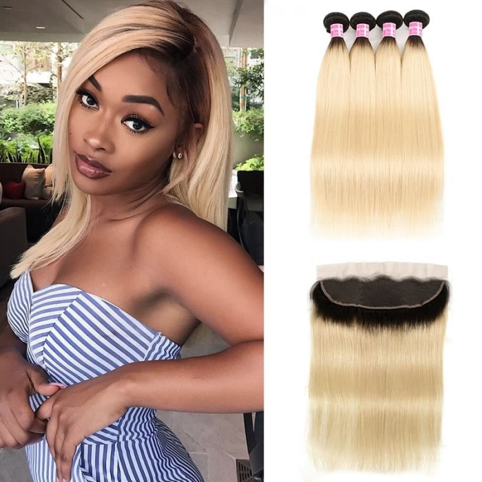 Incolorwig #T1B613 Ombre Color Staight Indian 4 Bundles Hair With 13*4 Free Part Lace Frontal
